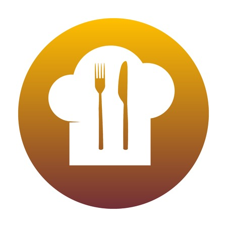 dinning: Chef hat and spoon, fork, knife sign. White icon in circle with golden gradient as background. Isolated.