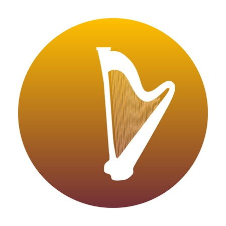 Musical instrument harp sign. White icon in circle with golden gradient as background. Isolated.