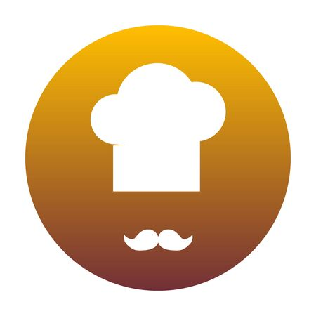french culture: Chef hat and moustache sign. White icon in circle with golden gradient as background. Isolated. Illustration