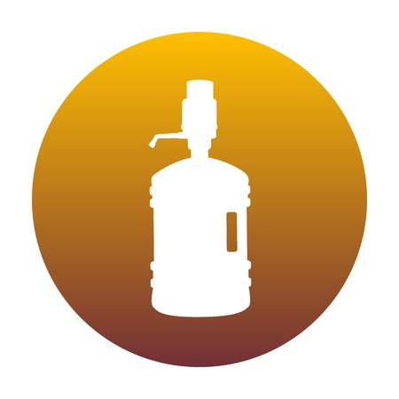 Plastic bottle silhouette with water and siphon. White icon in circle with golden gradient as background. Isolated.