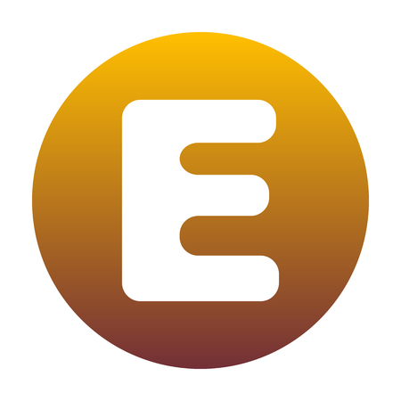 Letter E sign design template element. White icon in circle with golden gradient as background. Isolated.