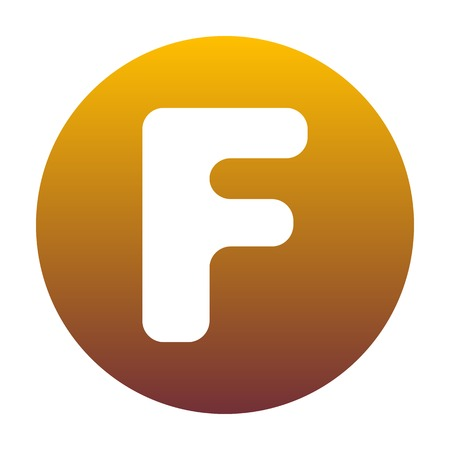 Letter F sign design template element. White icon in circle with golden gradient as background. Isolated. Illustration
