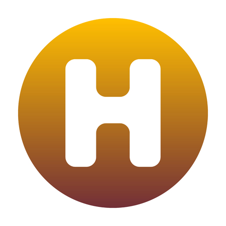 Letter H sign design template element. White icon in circle with golden gradient as background. Isolated. Illustration