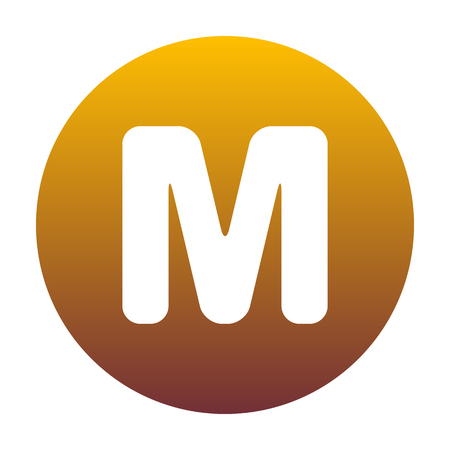 sans: Letter M sign design template element. White icon in circle with golden gradient as background. Isolated. Illustration