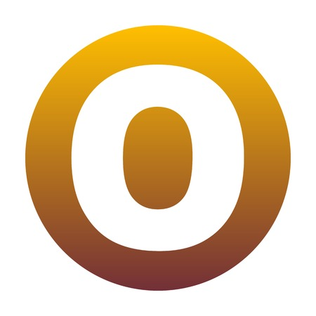 Letter O sign design template element. White icon in circle with golden gradient as background. Isolated.