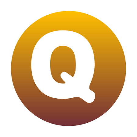 sans: Letter Q sign design template element. White icon in circle with golden gradient as background. Isolated.