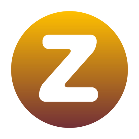 Letter Z sign design template element. White icon in circle with golden gradient as background. Isolated.