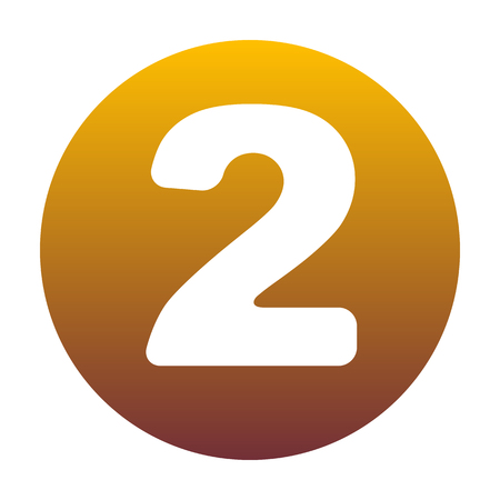 Number 2 sign design template elements. White icon in circle with golden gradient as background. Isolated. Illustration