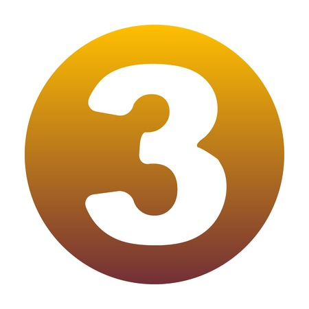 Number 3 sign design template element. White icon in circle with golden gradient as background. Isolated.