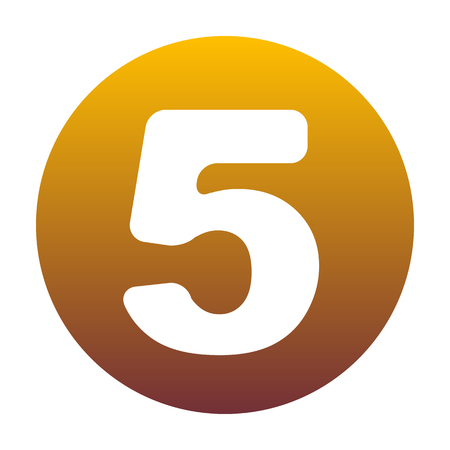 Number 5 sign design template element. White icon in circle with golden gradient as background. Isolated.