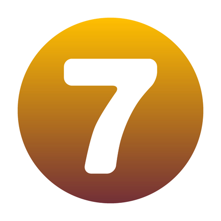 Number 7 sign design template element. White icon in circle with golden gradient as background. Isolated.