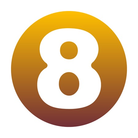 Number 8 sign design template element. White icon in circle with golden gradient as background. Isolated.