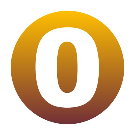 Number 0 sign design template element. White icon in circle with golden gradient as background. Isolated. Illustration