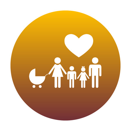 Family sign with heart. Husband and wife are kept childrens hands. White icon in circle with golden gradient as background. Isolated. Illustration