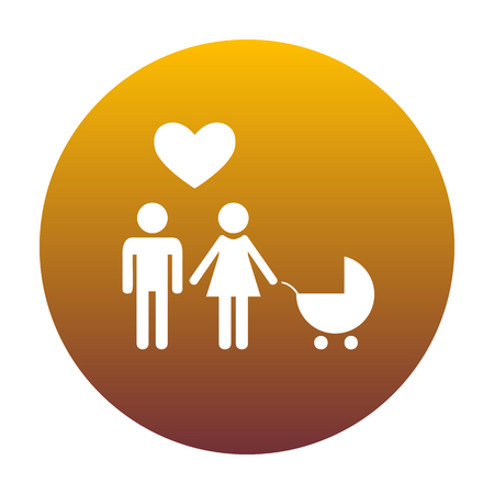 Family symbol with pram and heart. Husband and wife are kept each other`s hands. Love. White icon in circle with golden gradient as background. Isolated. Illustration