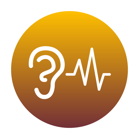 Ear hearing sound sign. White icon in circle with golden gradient as background. Isolated.