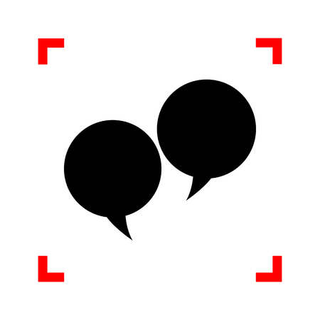 discussion: Speech bubble sign. Black icon in focus corners on white background. Isolated. Illustration