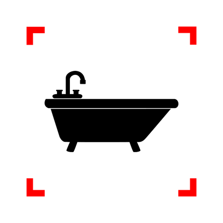 Bathtub sign illustration. Black icon in focus corners on white background. Isolated.