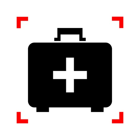 firstaid: Medical First aid box sign. Black icon in focus corners on white background. Isolated. Illustration