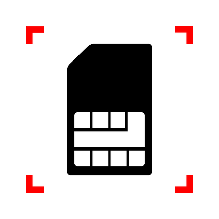 prepaid card: Sim card sign. Black icon in focus corners on white background. Isolated. Illustration