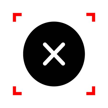 voted: Cross sign illustration. Black icon in focus corners on white background. Isolated.