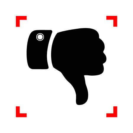 disapprove: Hand sign illustration. Black icon in focus corners on white background. Isolated.