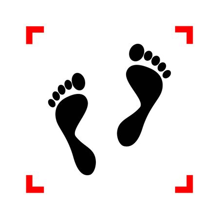 to commit: Foot prints sign. Black icon in focus corners on white background. Isolated.