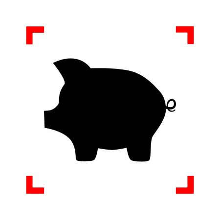 moneyed: Pig money bank sign. Black icon in focus corners on white background. Isolated. Illustration