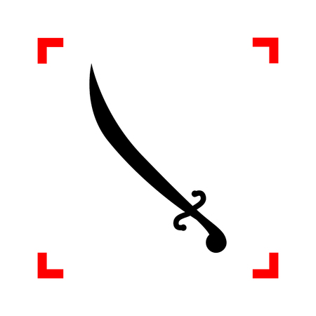 longsword: Sword sign illustration. Black icon in focus corners on white background. Isolated.