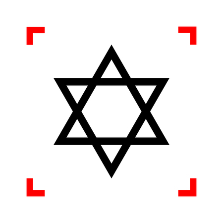 magen: Shield Magen David Star. Symbol of Israel. Black icon in focus corners on white background. Isolated. Illustration