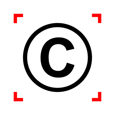 著作権、著作権記号の図。白い背景の上のフォーカスのコーナーで黒のアイコン。分離されました。  イラスト・ベクター素材