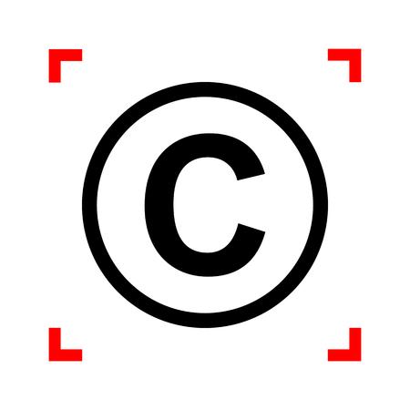 Copyright teken illustratie. Zwart pictogram in focus hoeken op een witte achtergrond. Geïsoleerd. Stockfoto - 71362795