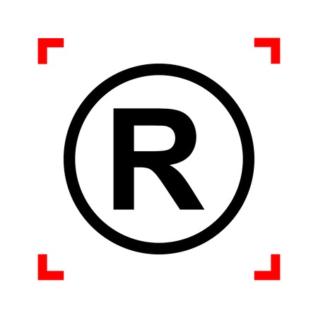 dispensation: Registered Trademark sign. Black icon in focus corners on white background. Isolated. Illustration