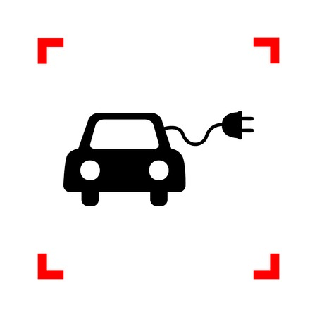echnology: Eco electric car sign. Black icon in focus corners on white background. Isolated. Illustration