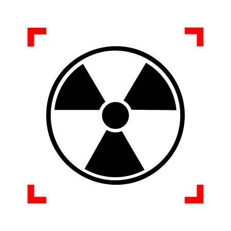 Radiation Round sign. Black icon in focus corners on white backg Illustration