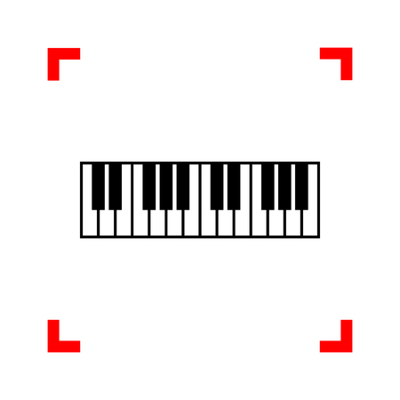 Piano Keyboard sign. Black icon in focus corners on white backgr
