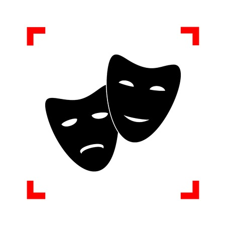 corne: Theater icon with happy and sad masks. Black icon in focus corne