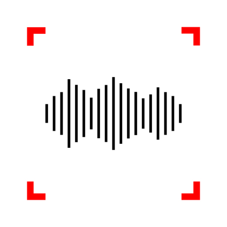 vibrations: Sound waves icon. Black icon in focus corners on white background. Isolated. Illustration