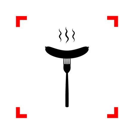 roast lamb: Sausage on fork sign. Black icon in focus corners on white backg