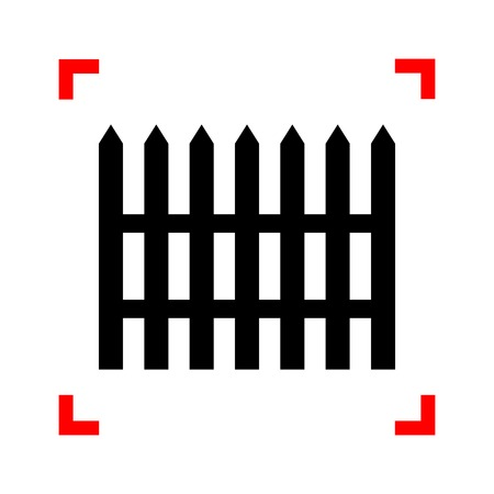 dissociation: Fence simple sign. Black icon in focus corners on white backgrou