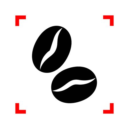 Coffee beans sign. Black icon in focus corners on white background. Isolated.
