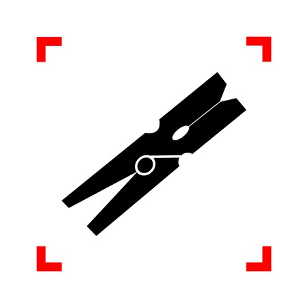 clothespeg: Clothes peg sign. Black icon in focus corners on white background. Isolated.