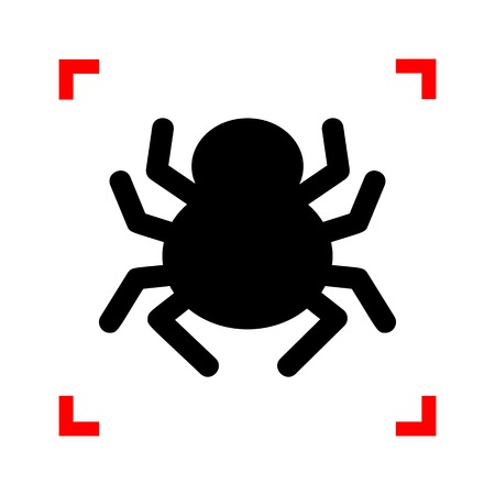 Spider sign illustration. Black icon in focus corners on white background. Isolated.