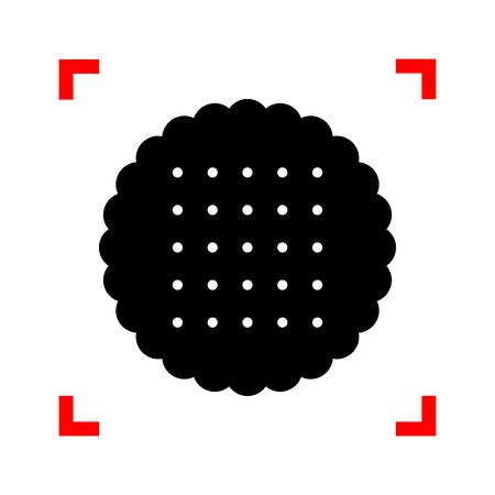 scone: Pyramid sign illustration. Black icon in focus corners on white
