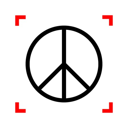 brushwork: Peace sign illustration. Black icon in focus corners on white ba