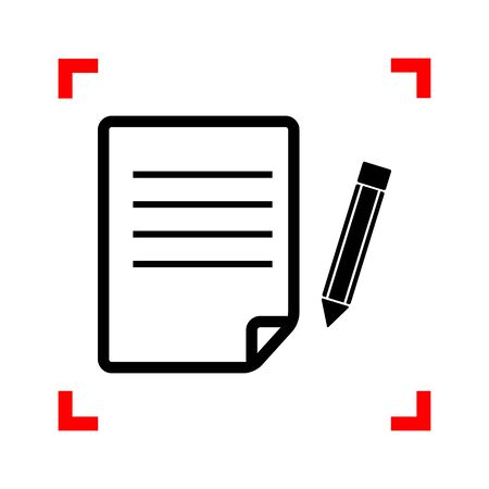 note pad and pen: Paper and pencil sign. Black icon in focus corners on white background. Isolated. Illustration