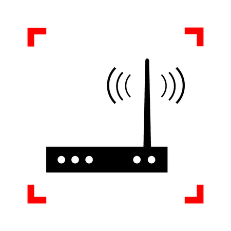 Wifi modem sign. Black icon in focus corners on white background Иллюстрация