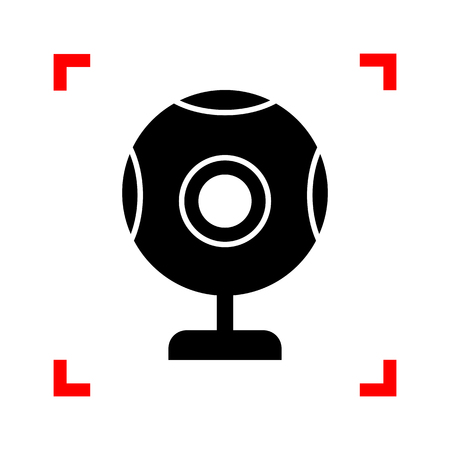 acquaintance: Chat web camera sign. Black icon in focus corners on white backg