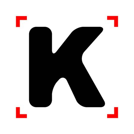 corne: Letter K sign design template element. Black icon in focus corne