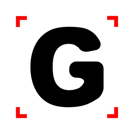 corne: Letter G sign design template element. Black icon in focus corne